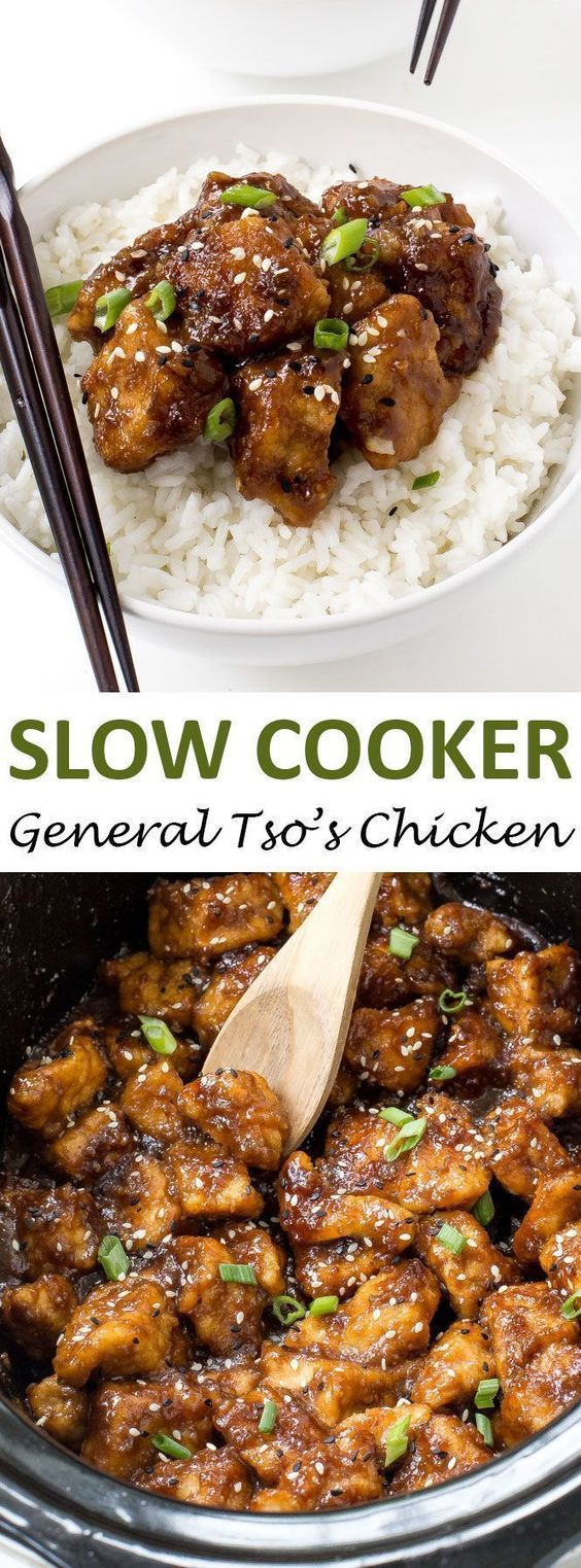 Slow Cooker General Tso's Chicken #chickenrecipe #dinner #slowcooker