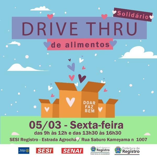Hoje tem Drive Thru Solidário!  SESI e SENAI entram em parceria com o Fundo Social para fazer o bem