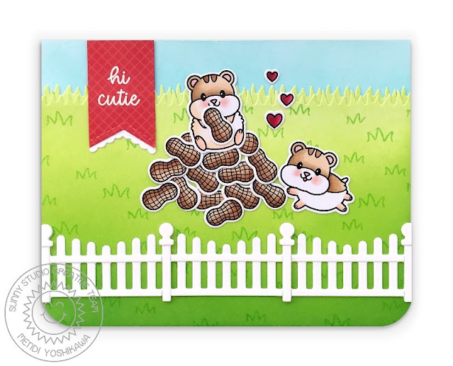 Sunny Studio: Hamsters with Peanut Pile Card (using Happy Hamsters Stamps, Picket Fence Dies, Scalloped Fence Dies & Fishtail Banner Dies)