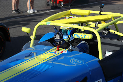 Daniel French in Parc Ferme at Snetterton 300 Circuit in the first Caterham 270R race of the weekend finished - P1