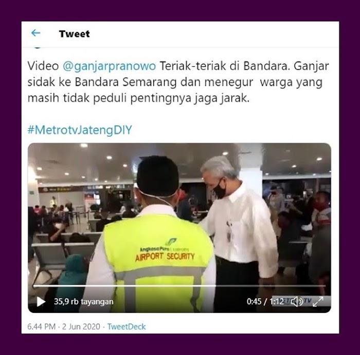 Video Ganjar Teriak-teriak Sidak di Bandara, Dicibir Netizen: Pencitraan Basi Bos !!