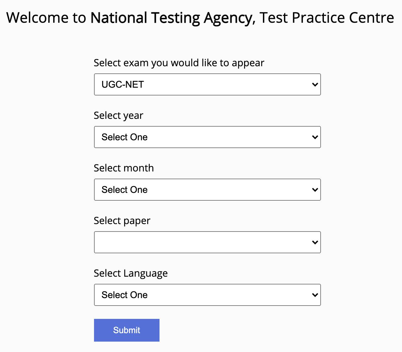 UGC NET Mock Test at National Testing Agency Official Website