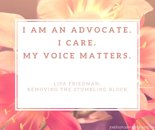 I am an advocate. I care. My voice matters; Removing the Stumbling Block