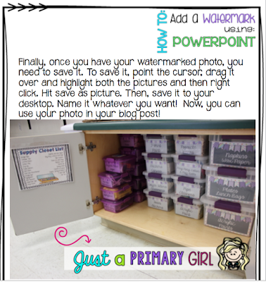 Just a Primary Girl - How to Add a Watermark