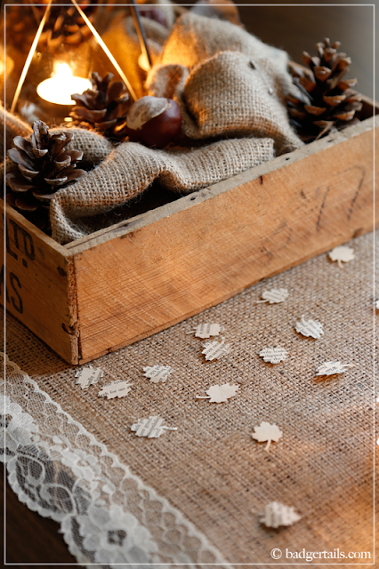 Rustic Autumn Crate Centerpiece Decoration with Book Page Leaf Confetti