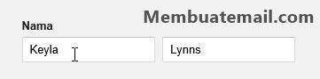 Mengisi nama dalam halaman pendaftaran email