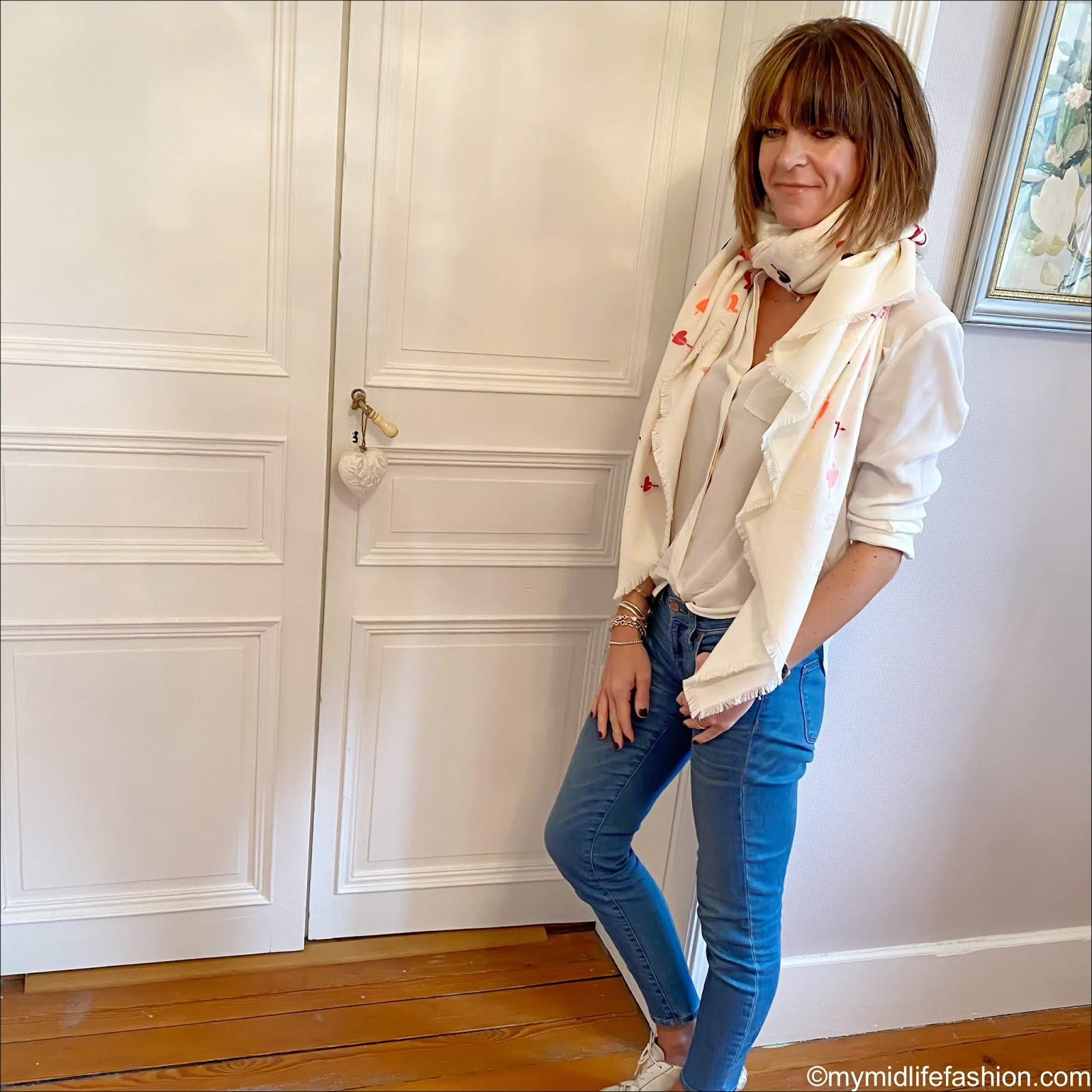 my midlife fashion, Marks and Spencer silk shirt, Alexander McQueen heart wool scarf, golden goose superstar low top leather trainers, j crew 8 inch toothpick jeans