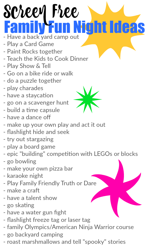 Screen Free Family Fun Night Ideas