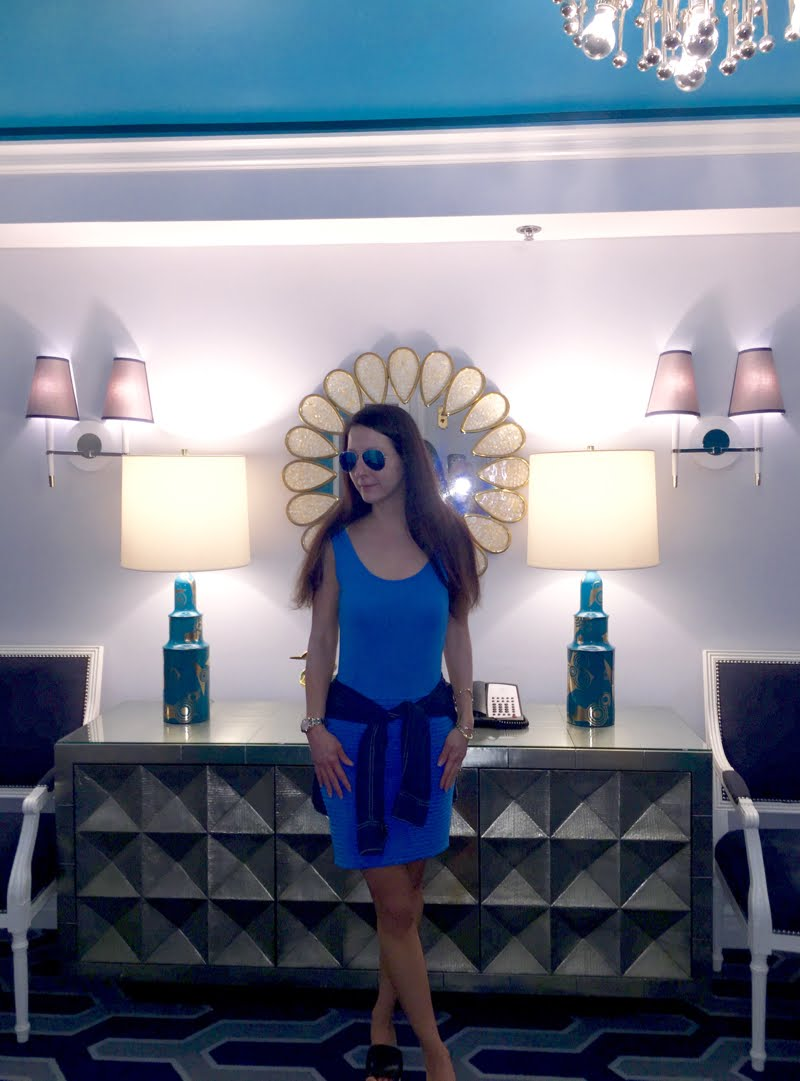 Blue and Jean Outfit at Palm Beach in room.
