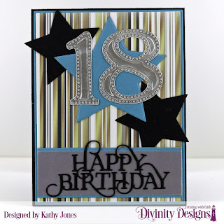 Custom Dies: Happy Birthday Caps, Matting Rectangle, A2 Portrait Card Base with Layer, Sparkling Stars, Large Numbers, Paper Collection: Winter Collection