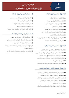 الإطار  المرجعي لرائز التقويم التشخيصي لمادة اللغة العربية المستوى الخامس
