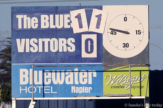 Final score - Napier City Rovers beat Massey University 11-0, soccer, football at Bluewater Stadium, Park Island, Napier. photograph