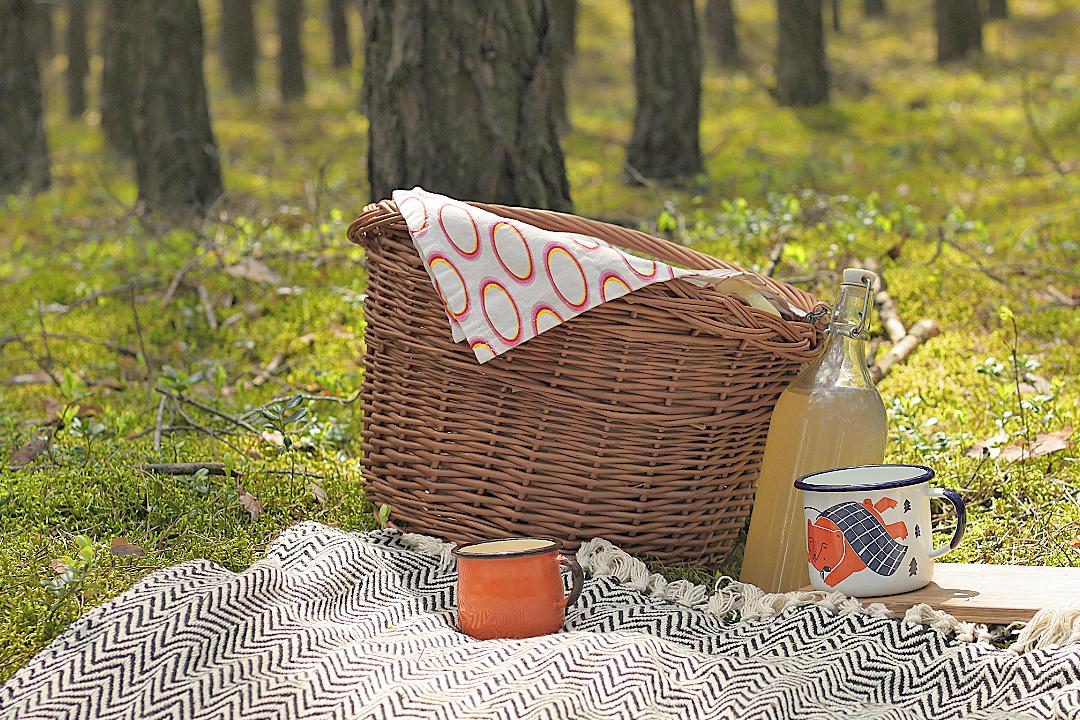 kosz piknikowy, kubki emaliowane, dania na piknik