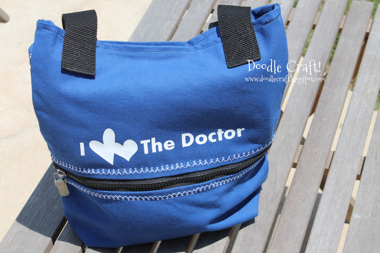 Doodlecraft Tardis Blue Canvas Bag I Heart Heart The