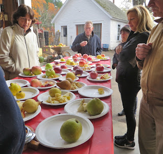 People around a table loaded with different kinds of apples