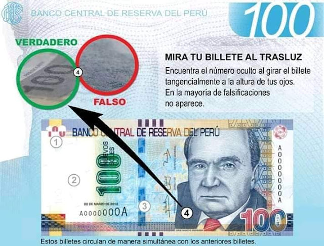Detectar Billete de S/ 100 soles falso