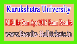 Kurukshetra University M.Ed Ist Sem Apr 2016 Exam Results