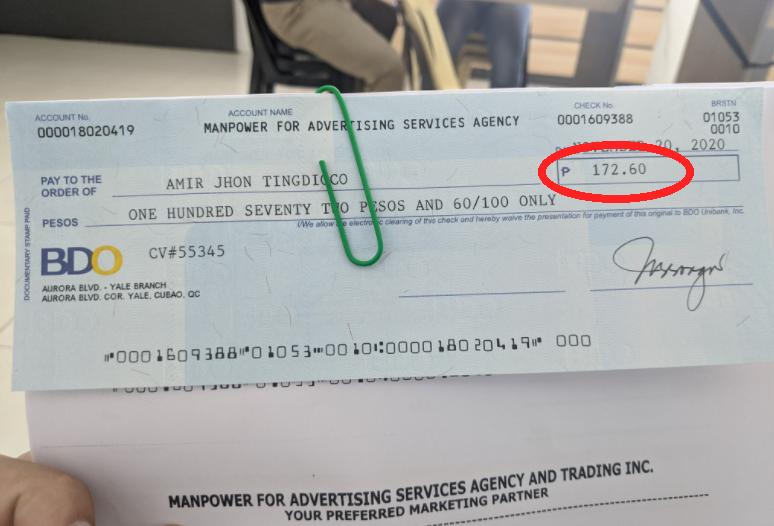 172 Pesos na backpay ng isang Netizen, viral ngayon sa facebook