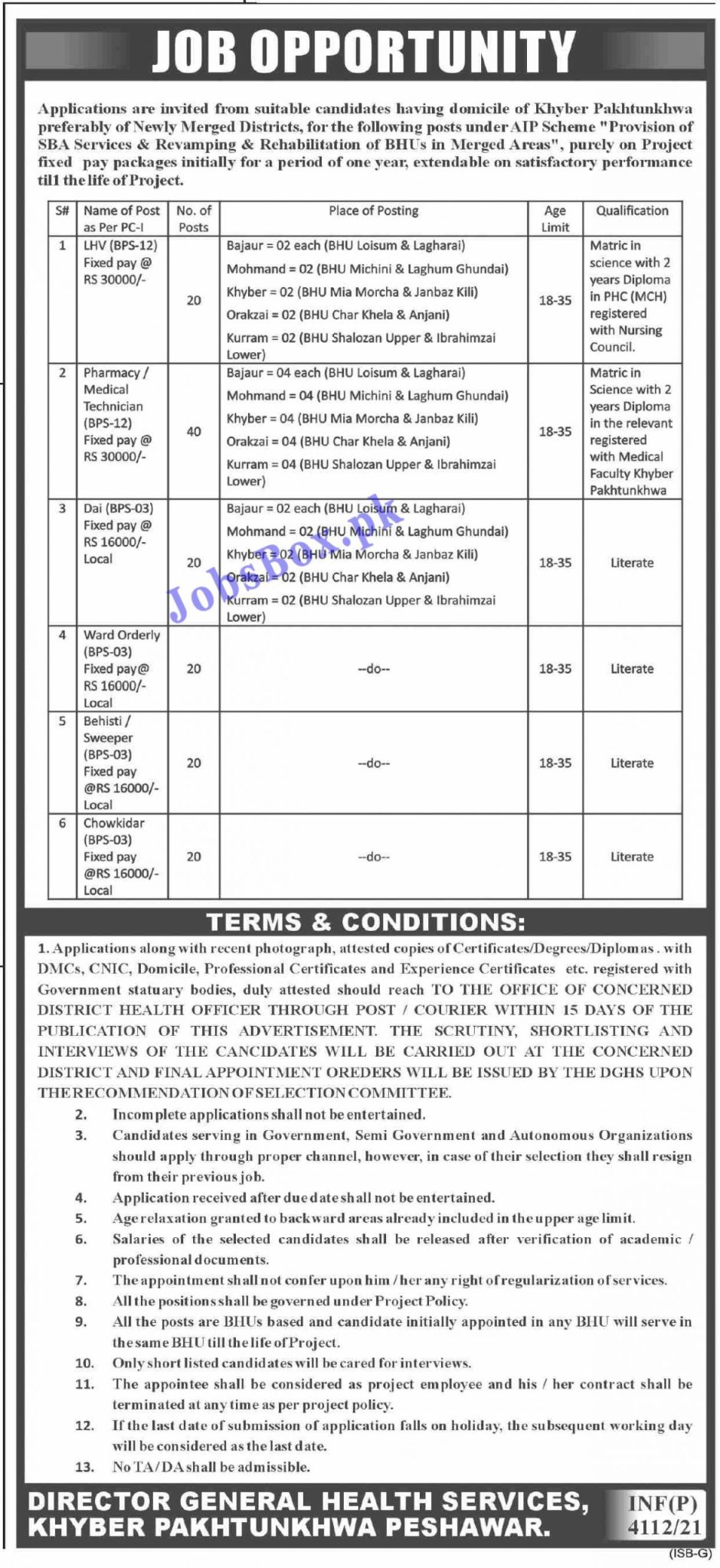 Health Department KPK Jobs 2021 in Pakistan