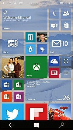 Screenshot of Windows 10 Mobile on smartphones