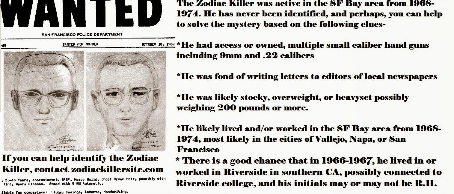Zodiackillersite: Zodiac Killer \'WANTED\' poster