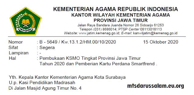 SE Pembukaan KSMO Tingkat Provinsi Jawa Timur Tahun 2020 Dan Pemberian Kartu Perdana Smartfrend