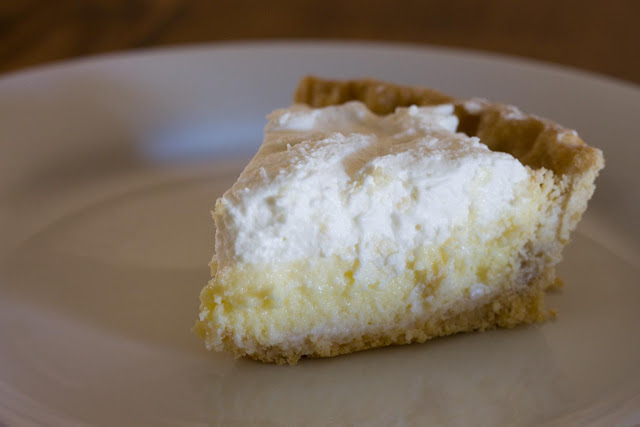A slice of made from scratch whole wheat crust lemon cream pie