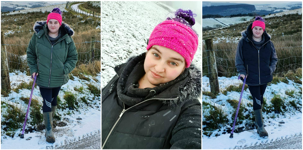 A girl stood on a snow covered road wearing a thick coat, a girl in the snow wearing a pink knit headband, a girl stood on a snowy bank in a black gilet