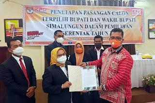 KPUD Simalungun Tetapkan Radiapoh-Zonny Pemenang Pilkada Simalungun 2020