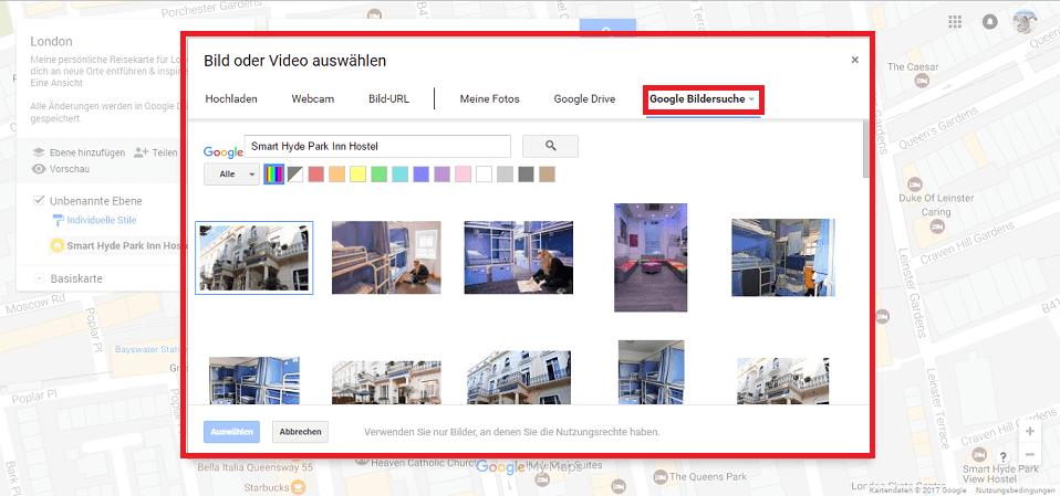 Google Maps Karte Foto auswählen Screenshot