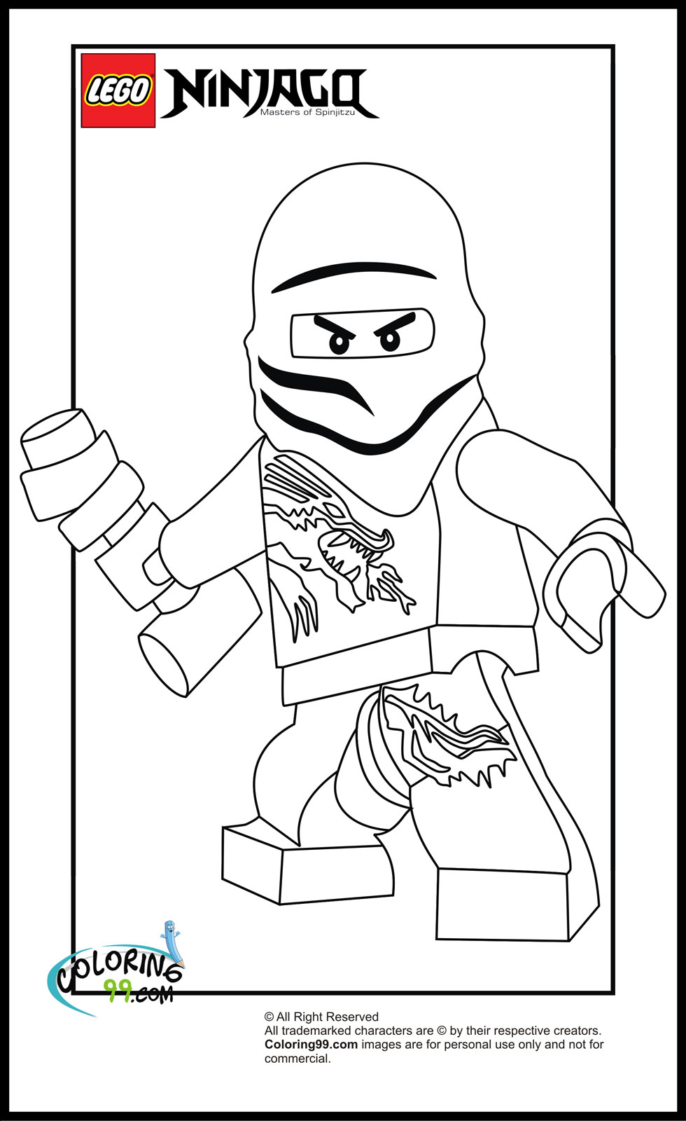 ninjago golden weapons coloring pages - lego ninjago zane coloring pages team colors