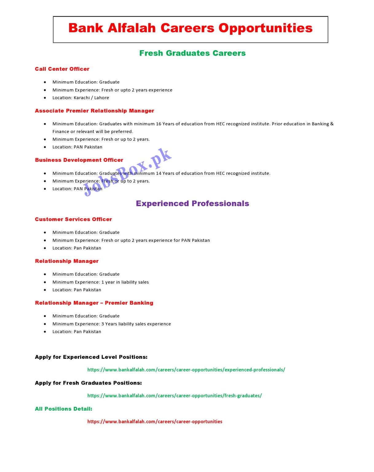 www.bankalfalah.com Jobs 2021 - Bank Alfalah Jobs 2021 in Pakistan