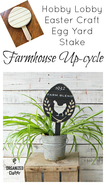 Hobby Lobby Easter Egg Yard Stake Farmhouse Style Repurpose #farmhouse #farmhousestyle #farmhousedecor #stencil #oldsignstencils #dixiebellepaint