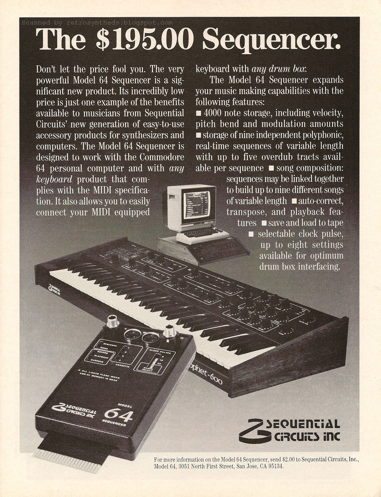 retro synth ads sequential circuits inc model 64 sequencer the sequencer ad. Black Bedroom Furniture Sets. Home Design Ideas