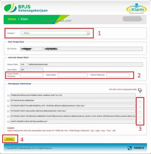 Upload dokumen e-klaim, Form e-Klaim JHT