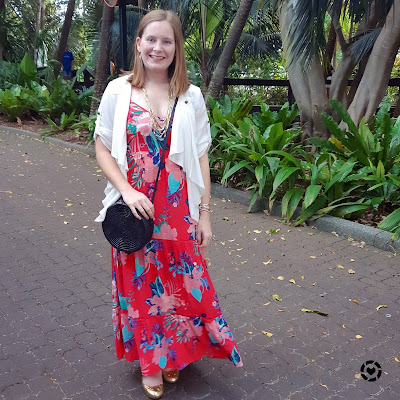 awayfromtheblue instagram   kmart floral maxi dress date night outfit gold accessories