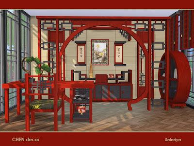 Chen Office Офис Чен для The Sims 4 Восточный набор мебели для ваших офисных помещений. Включает в себя 10 объектов, имеет 2 цветовые палитры. Предметы в наборе: - Рамка, - экран, - декор стен, - стол, - функциональная полка, - картина, - стол письменный, - стул, - книжный шкаф, - жалюзи. Автор: soloriya