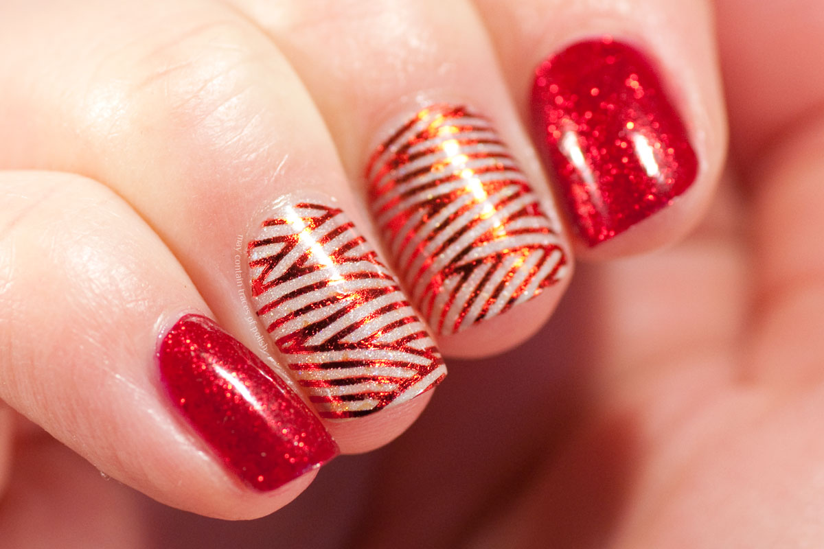 Red Foil Nail Art Design - China Glaze Ruby Pumps and MILV water decal