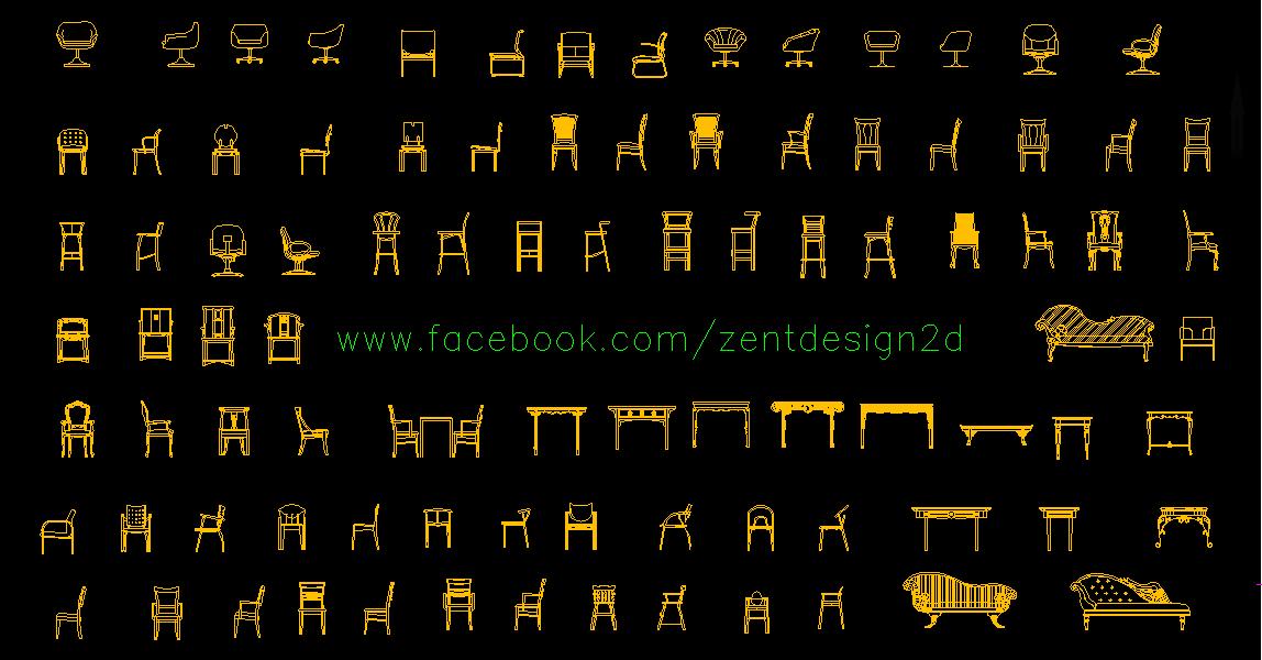 Chairs Sillas Dwg Zent Design 2d