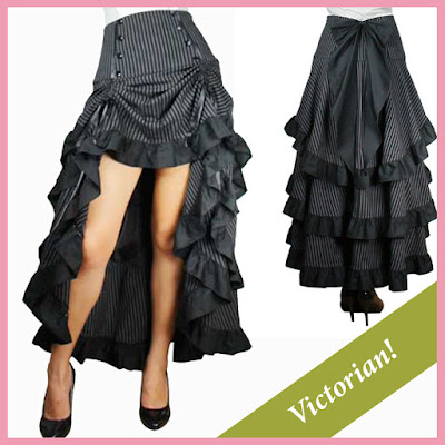 Plus Size Steampunk skirt | 1x 2x 3x 4x 5x Pinstripe Layered Skirt