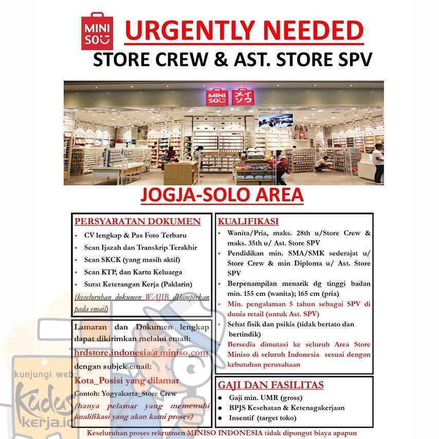 Kudus Kerja Miniso sedang membutuhkan Store Crew dan Asisten Store SPV untuk lokasi store di Lowongan Kerja Jogja & Solo dengan kualifikasi pada gambar dibawah ini.