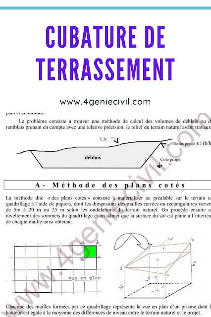 Cubature de terrassement - cours pdf