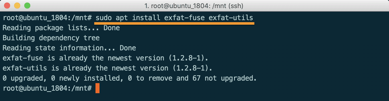 Linux install exfat-fuse and exfat-utils