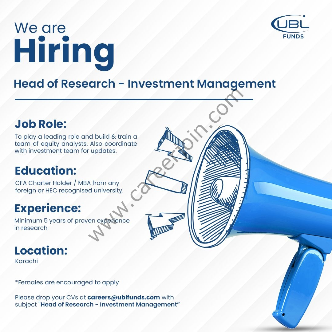 UBL Funds Manager Jobs September 2021