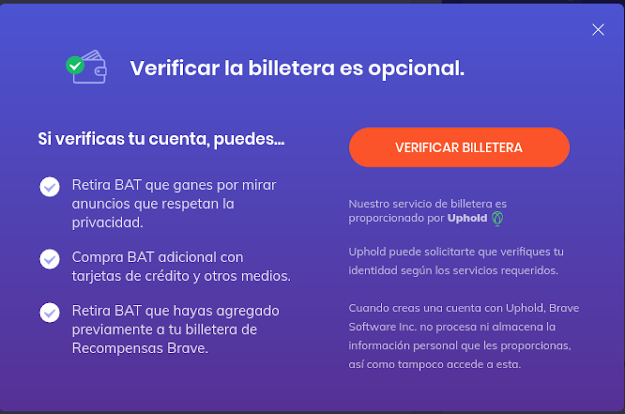 Verificacion de billetera Brave Browser
