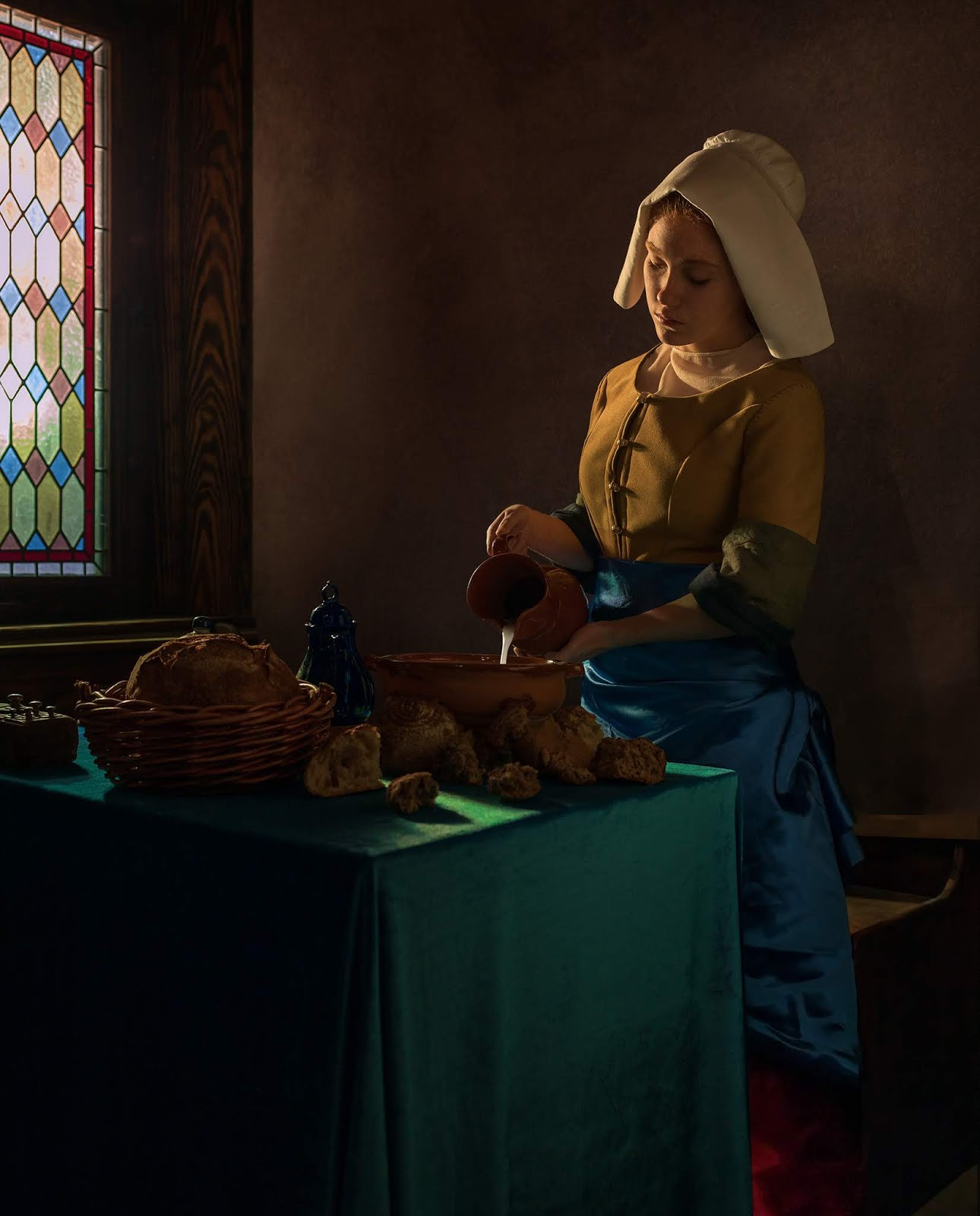 How to make a photographic version of the famous oil painting 'The milkmaid' by Vermeer