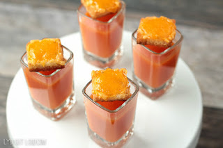 tomato soup shooters with grilled cheese croutons