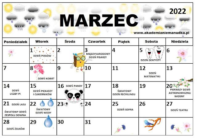 Kalendarz świąt nietypowych dla dzieci na rok szkolny 2021/2022 marzec