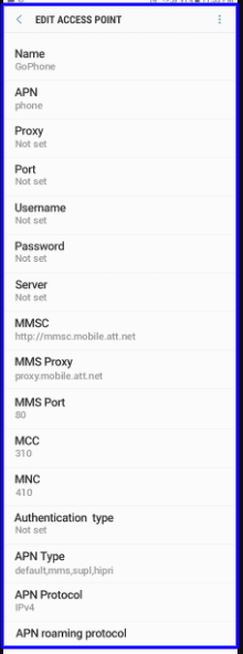 GoPhone 4G APN Settings