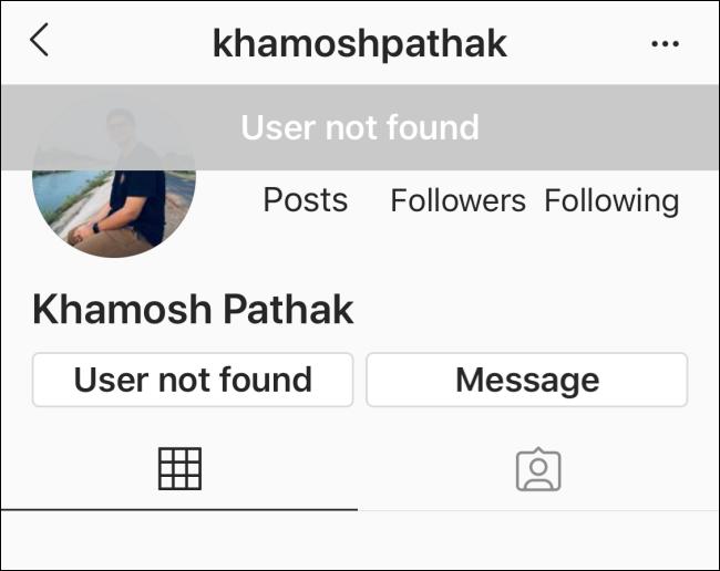 لا توجد تفاصيل على صفحة الملف الشخصي لملف تعريف Instagram الذي حظرك